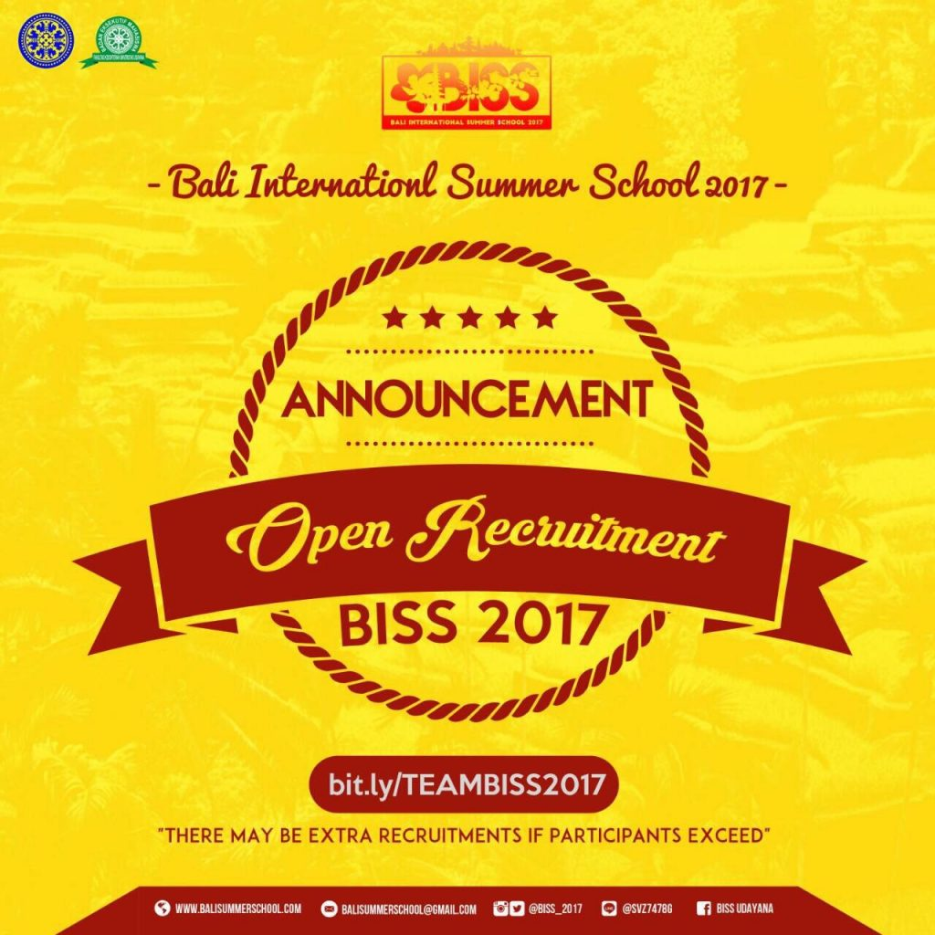 Announcement Regarding Open Recruitment BISS 2017