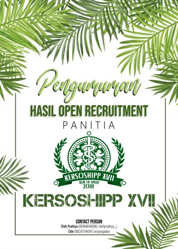 PENGUMUMAN HASIL OR PANITIA KERSOSHIPP XVII