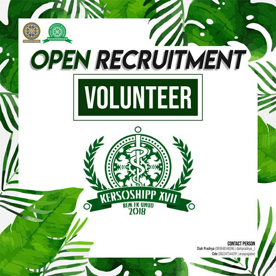OPEN RECRUITMENT VOLUNTEER KERSOSHIPP XVII