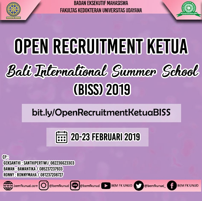 Open Recruitment Ketua Bali International Summer School 2019