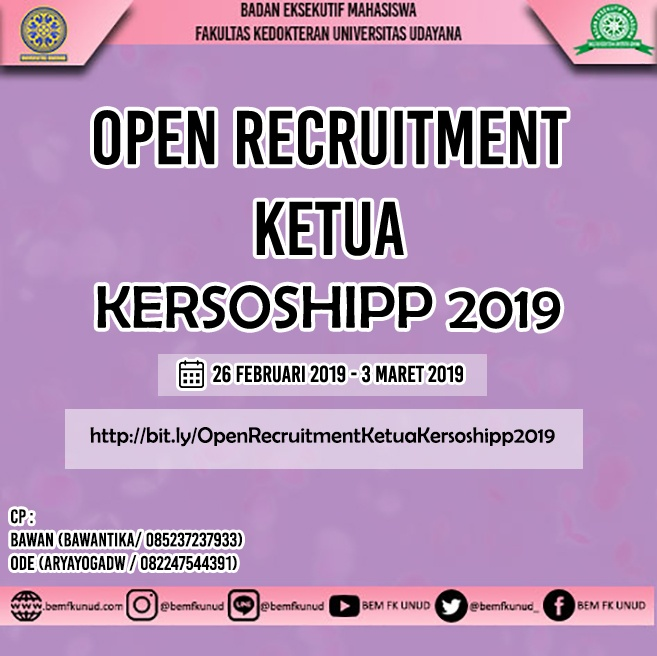 OPEN RECRUITMENT KETUA PANITIA KERSOSHIPP XVIII