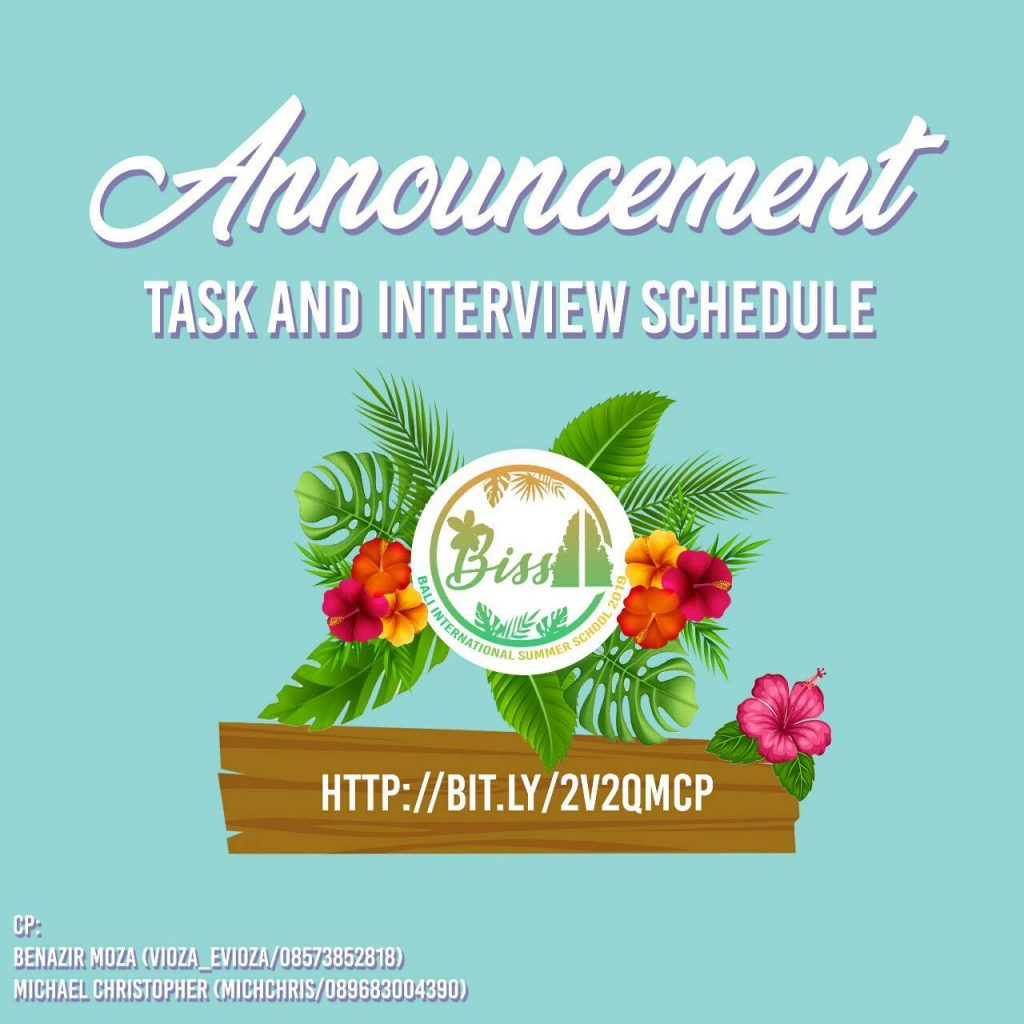 BISS COMMITTEE TASK & INTERVIEW SCHEDULE