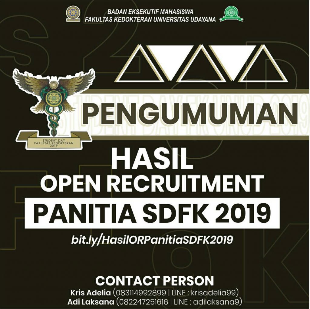 PENGUMUMAN HASIL OPEN RECRUITMENT PANITIA SDFK 2019
