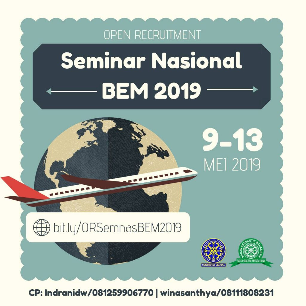 OPEN RECRUITMENT PANITIA SEMINAR NASIONAL BEM FK UNUD 2019