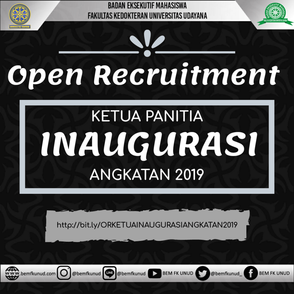 OPEN RECRUITMENT KETUA INAUGURASI ANGKATAN 2019