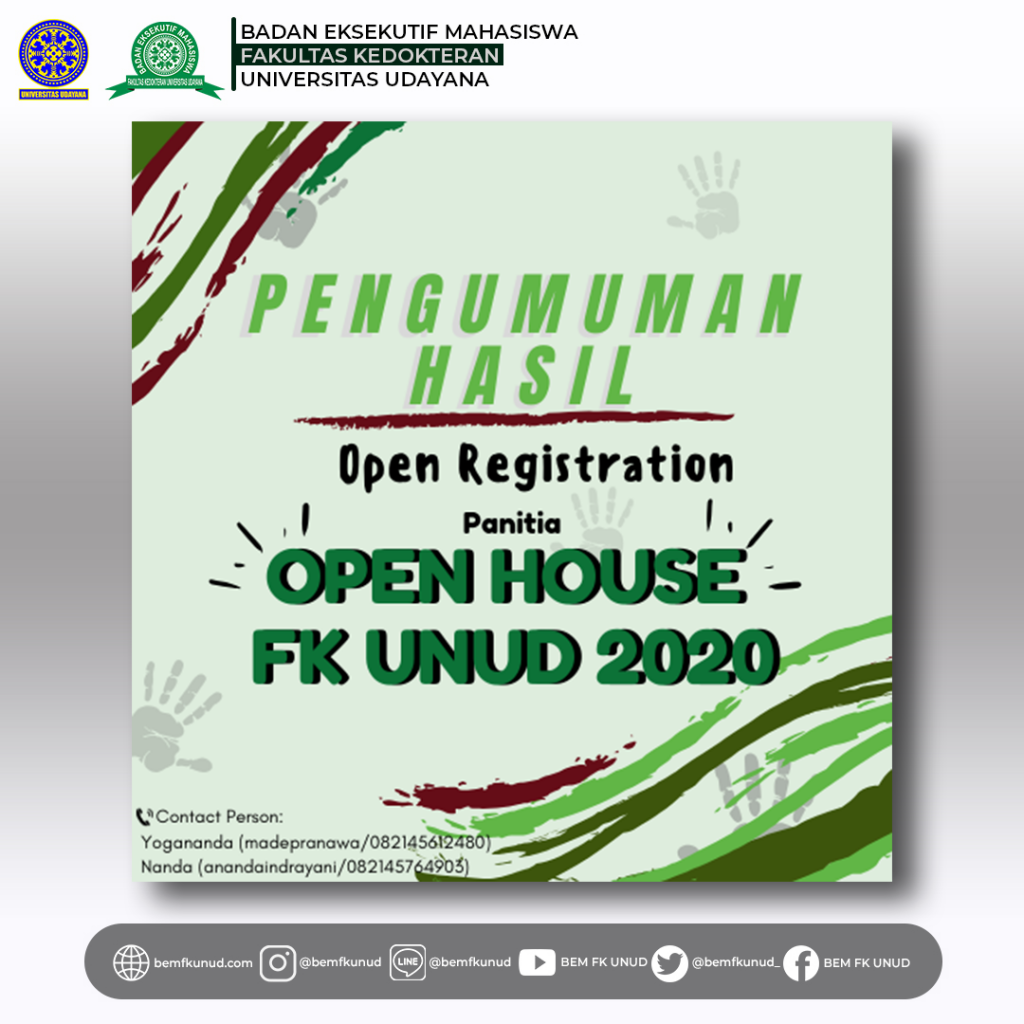 Pengumuman Hasil Open Recruitment Panitia Open House FK UNUD 2020
