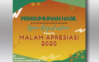 Pengumuman Hasil Open Registratrion Peserta Malam Apresiasi 2020