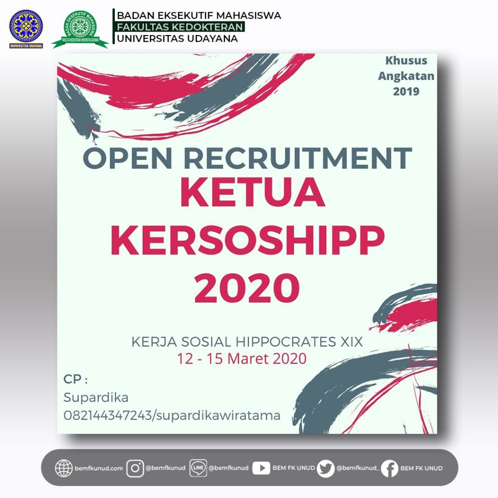 Open Recruitment Ketua Kersoshipp XIX