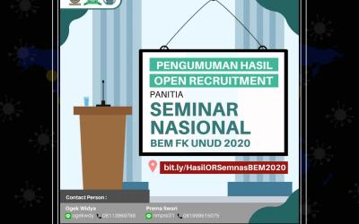 Hasil Open Recruitment Panitia Seminar Nasional BEM FK UNUD 2020